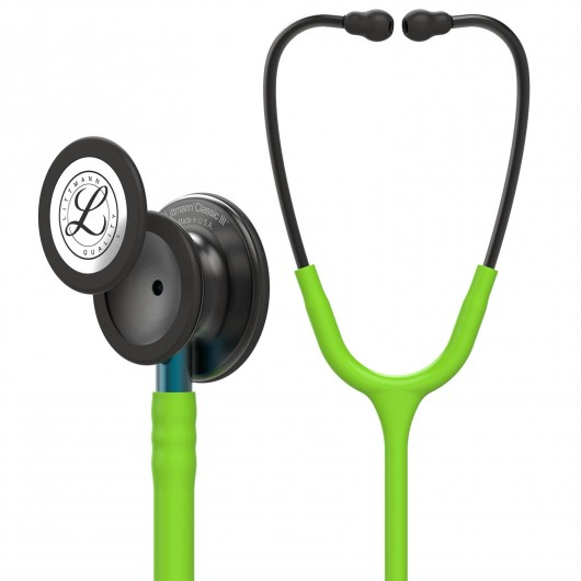 3M Littmann Classic III Lime Green, Smoke Finish - Blue Stem
